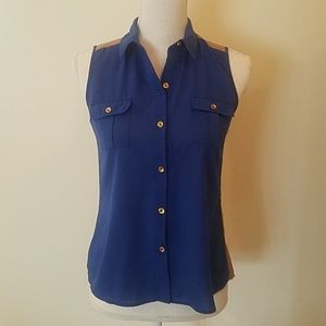 (3 for $15) blue and brown button up tank